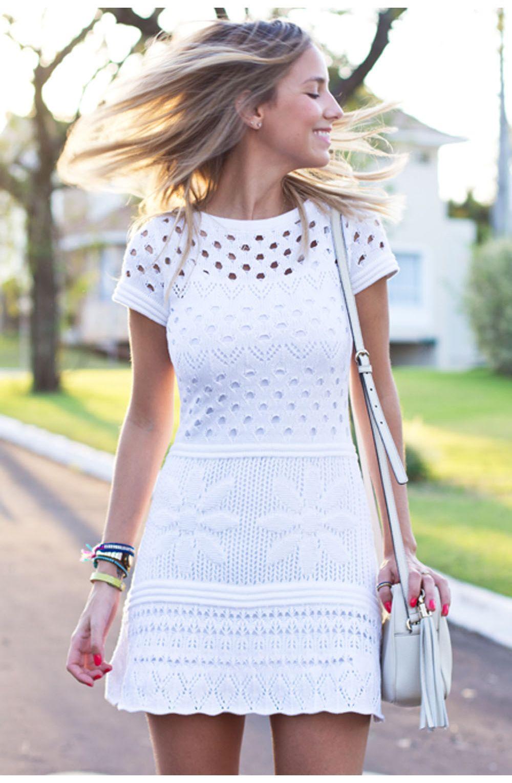 bea10ea43d Vestido tricot furinhos acinturado branco