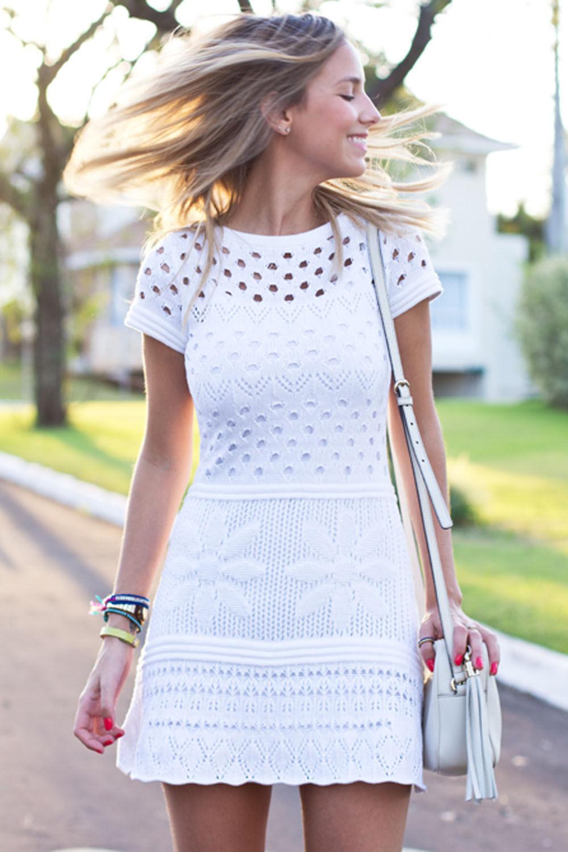 Vestido Tricot Furinhos Acinturado Branco Galeria Tricot