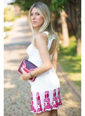 Vestido tricô decote V babado Pink