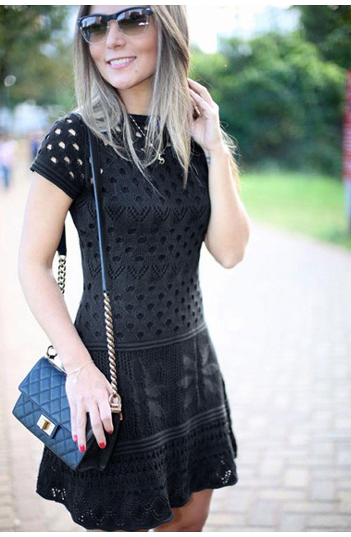4d9ccc6969 Vestido tricot furinhos acinturado preto