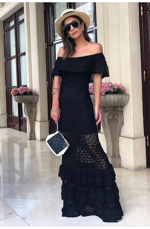 Vestido longo de tricot preto