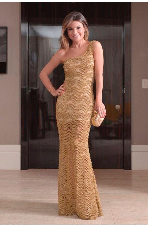f1ce202d3 Vestido Tricot Lola Longo Dourado | Galeria Tricot - Galeria Tricot