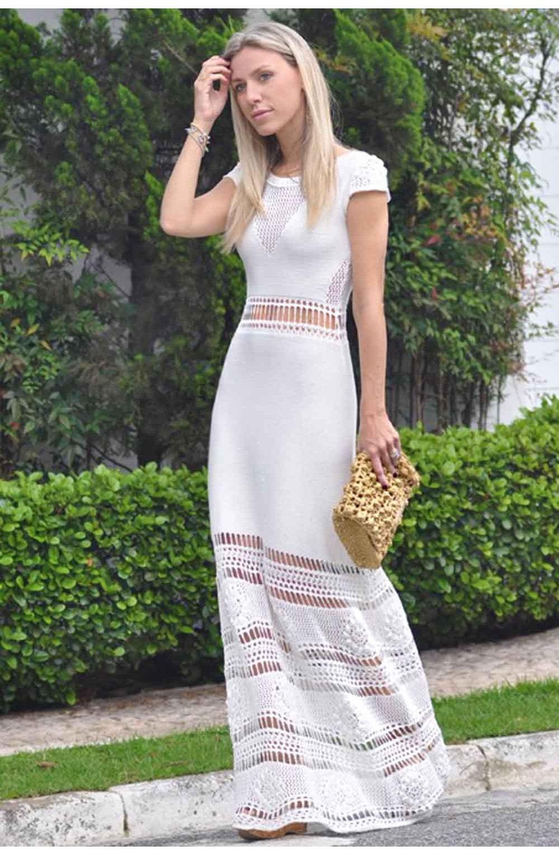 e77919df5 Vestido-Trico-Primavera-Longo-Branco | Galeria Tricot - Galeria Tricot