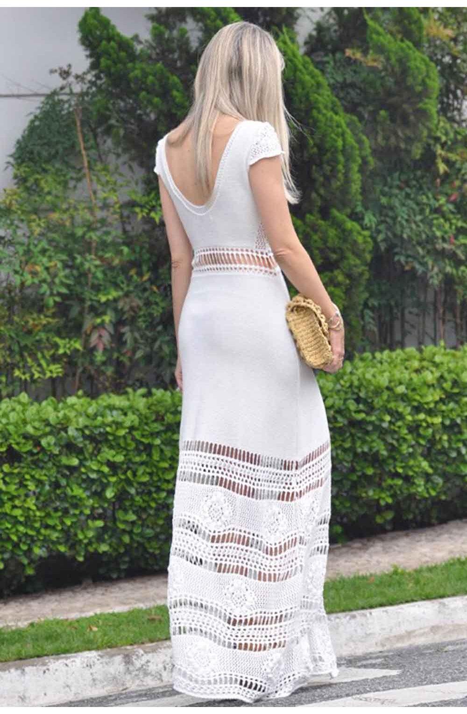 a2af08a1e Vestido-Trico-Primavera-Longo-Branco   Galeria Tricot - Galeria Tricot