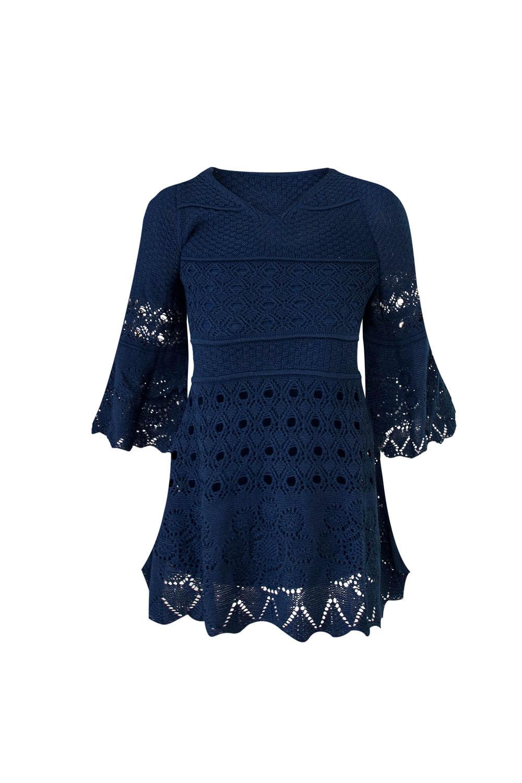 Vestido Maria Flor Infantil Azul Marinho Galeria Tricot